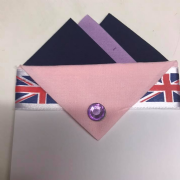 Navy Blue & Lavender Pocket Hankie With Pink Flap & Pin